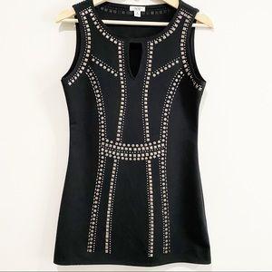 CACHE Studded Bodycon Sleeveless Black Dress
